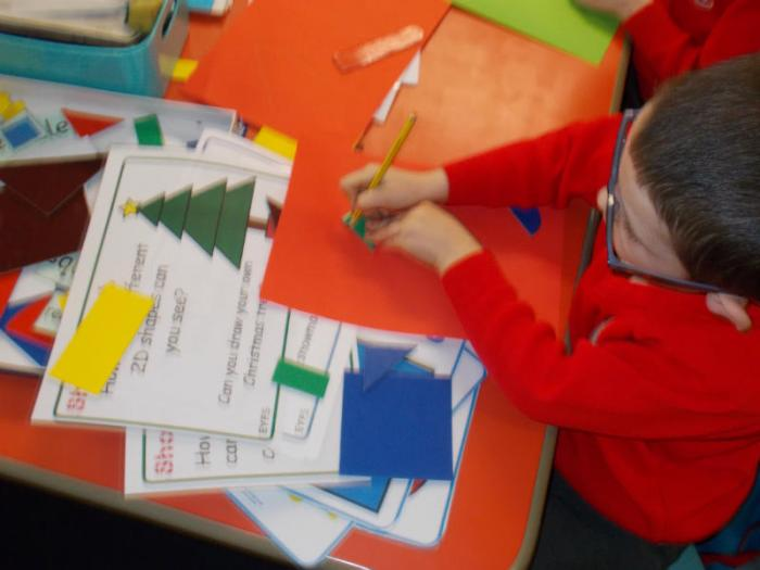 We identified 2D shapes and recorded information about the number of shapes. Then we designed our own Christmas picture.